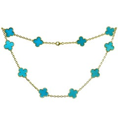 Van Cleef & Arpels Vintage Alhambra Turquoise Yellow Gold 10 Motif Necklace