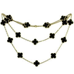 Van Cleef & Arpels Vintage Alhambra Onyx Yellow Gold 20 Motif Necklace