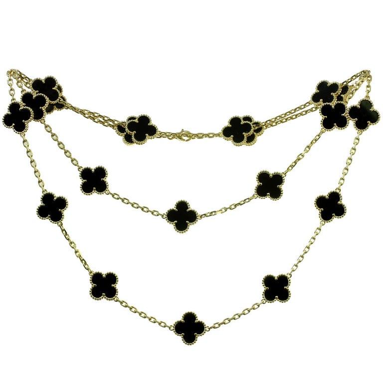 Van Cleef & Arpels Vintage Alhambra Onyx Yellow Gold 20 Motif Necklace