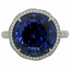 Tiffany & Co. High Jewelry Tanzanite Diamond Platinum Cocktail Ring GIA