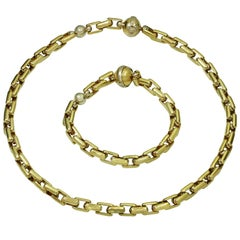 Sauro Yellow White Gold Necklace Bracelet Set