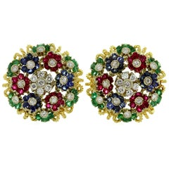 Diamond Ruby Emerald Sapphire Yellow Gold Earrings