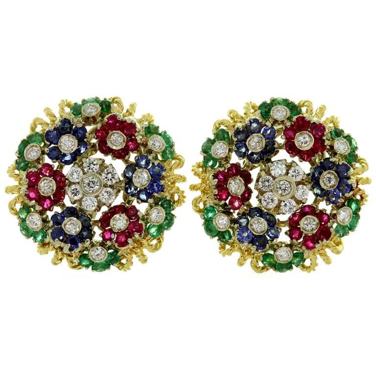 Diamond Ruby Emerald Sapphire Yellow Gold Earrings