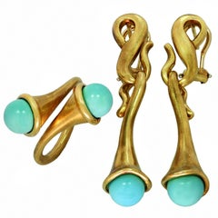 Angela Cummings Turquoise Yellow Gold Earrings and Ring Set