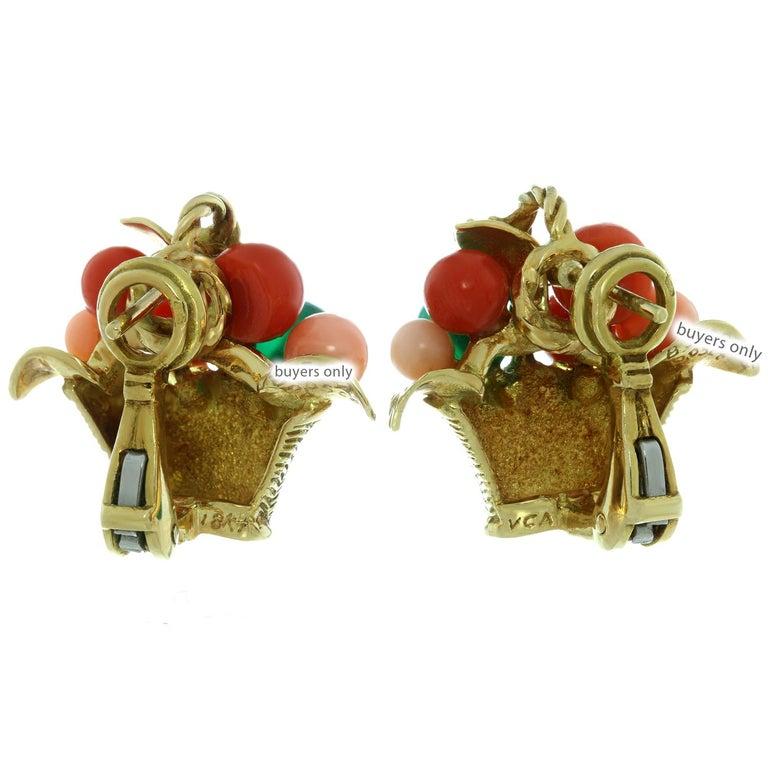 Van Cleef & Arpels Gemstone Bead Diamond Yellow Gold Basket Earrings  For Sale 2