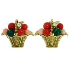 Van Cleef & Arpels Gemstone Bead Diamond Yellow Gold Basket Earrings