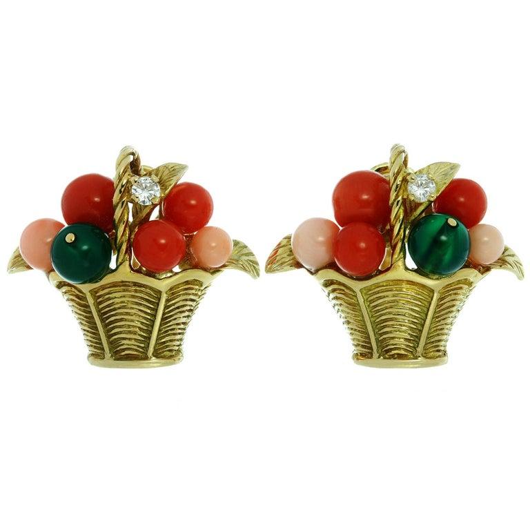 Van Cleef & Arpels Gemstone Bead Diamond Yellow Gold Basket Earrings  For Sale