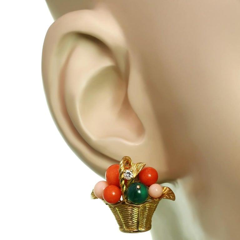 Women's Van Cleef & Arpels Gemstone Bead Diamond Yellow Gold Basket Earrings  For Sale