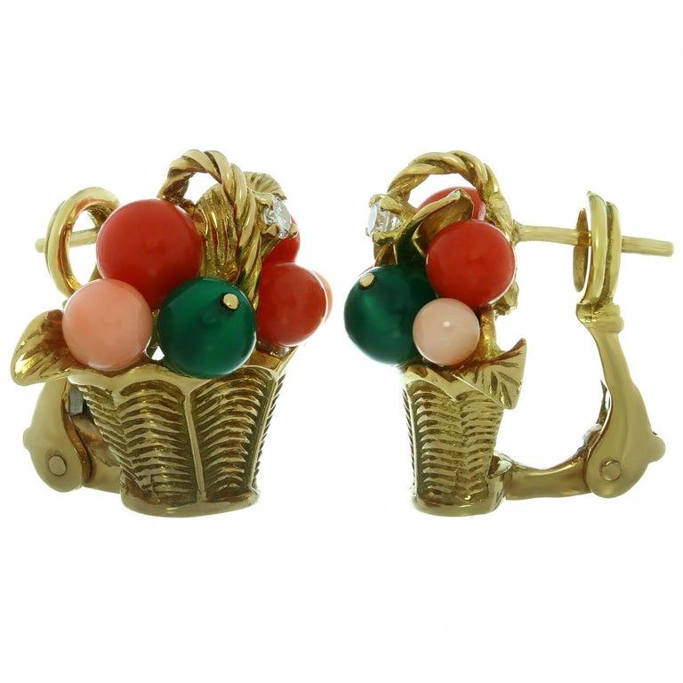 Van Cleef & Arpels Gemstone Bead Diamond Yellow Gold Basket Earrings  For Sale 1