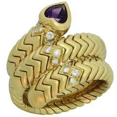 Bulgari Spiga Amethyst Diamond Yellow Gold 3-Row Flexible Ring