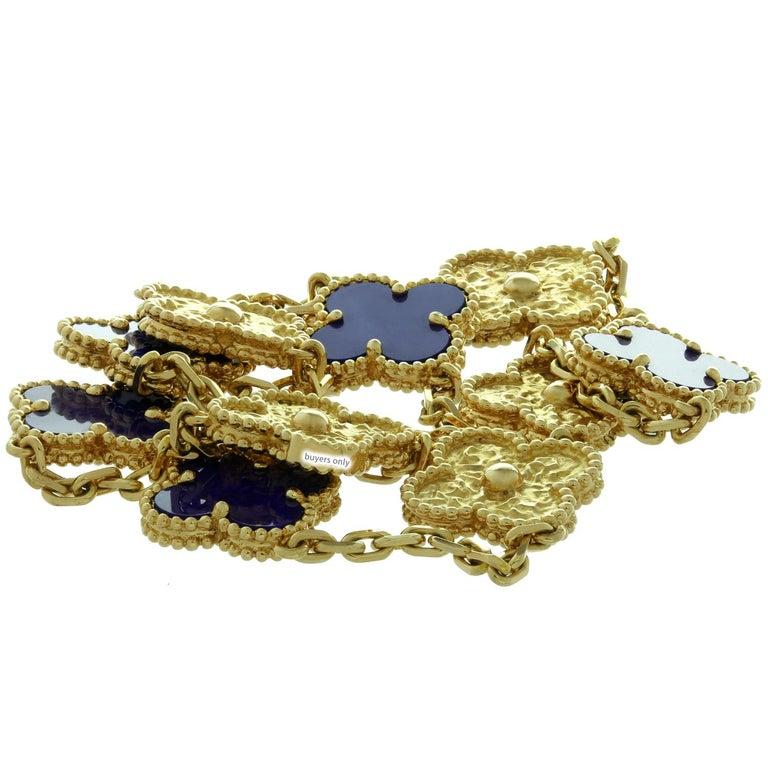 Van Cleef & Arpels Vintage Alhambra Lapis Lazuli Yellow Gold 10 Motif Necklace For Sale 3