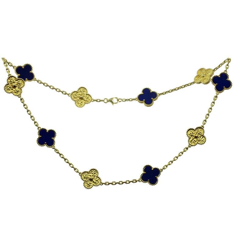 Van Cleef & Arpels Vintage Alhambra Lapis Lazuli Yellow Gold 10 Motif Necklace For Sale