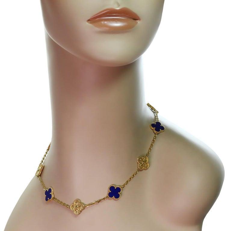 Women's Van Cleef & Arpels Vintage Alhambra Lapis Lazuli Yellow Gold 10 Motif Necklace For Sale
