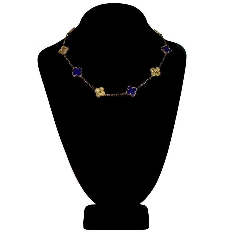Van Cleef & Arpels Vintage Alhambra Lapis Lazuli Yellow Gold 10 Motif Necklace For Sale 1