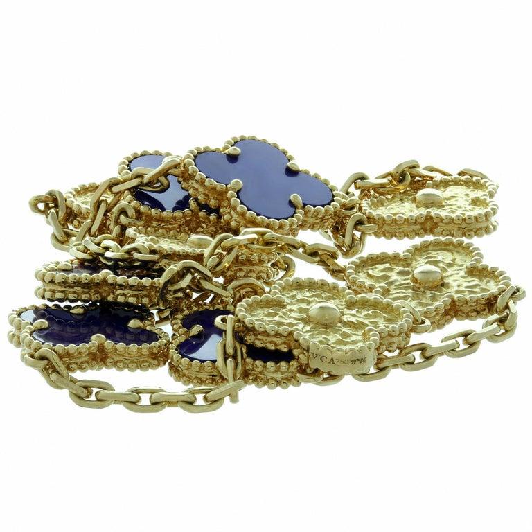Van Cleef & Arpels Vintage Alhambra Lapis Lazuli Yellow Gold 10 Motif Necklace For Sale 2