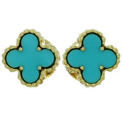 Van Cleef & Arpels Sweet Alhambra Turquoise Yellow Gold Stud Earrings
