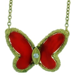 Van Cleef & Arpels Natural Oxblood Coral Yellow Gold Butterfly Pendant Necklace
