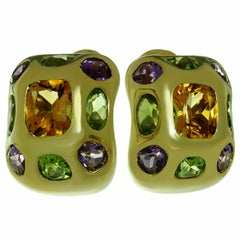 Chanel Baroque Multi-Color Gemstone Yellow Gold Earrings