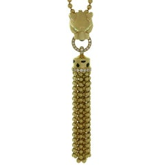 Cartier Panthere Diamond Garnet Onyx Black Lacquer Yellow Gold Necklace
