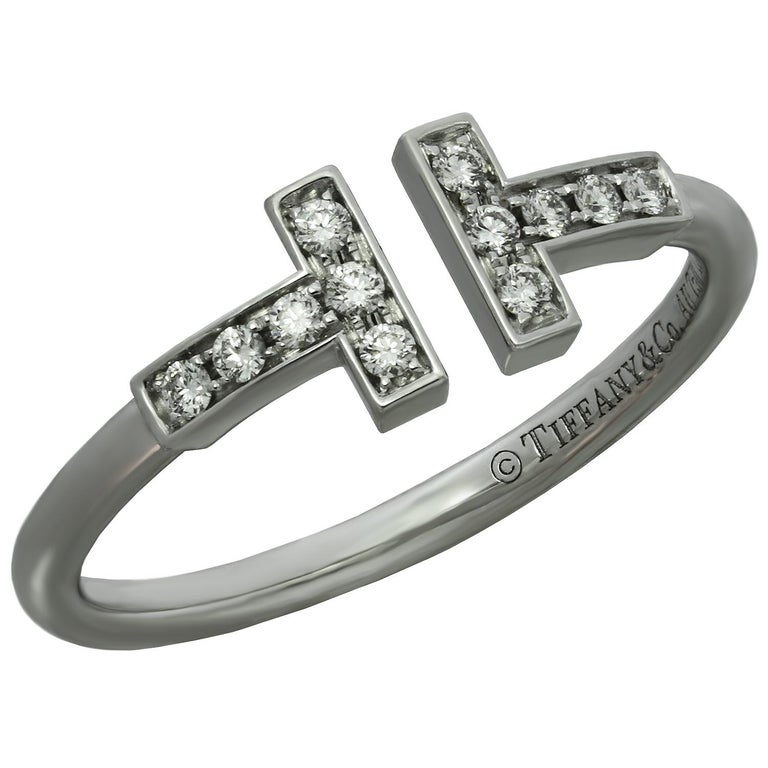 23ed7b0575303 Tiffany and Co. T Wire Diamond White Gold Ring For Sale at 1stdibs