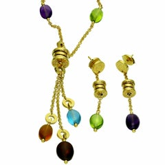 Bulgari B.Zero1 Gemstone 18 Karat Yellow Gold Earrings and Necklace Suite