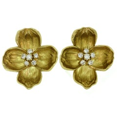 Tiffany & Co. Dogwood Yellow Gold Diamond Clip-On Flower Earrings
