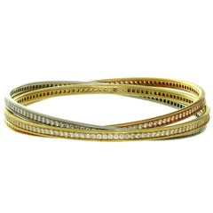 Cartier Trinity Diamond Tri-Gold Bangle Bracelet