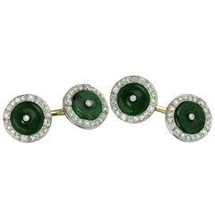 Dreicer & Co. Art Deco Natural Jade Diamond Platinum Gold Cufflinks