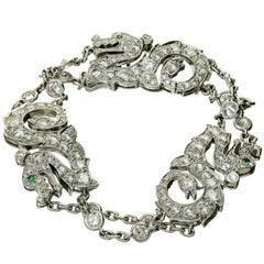 Cartier Diamond Emerald White Gold Dragon Bracelet