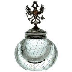 Julius Rappoport Antique Russian Imperial Double Eagle Silver Glass Inkwell