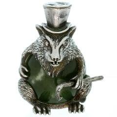 Julius Rappoport Russian Antique Imperial Nephrite Sterling Silver Rat Sculpture
