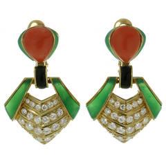 1980s Van Cleef & Arpels Chrysoprase Coral Diamond Clip-on Earrings