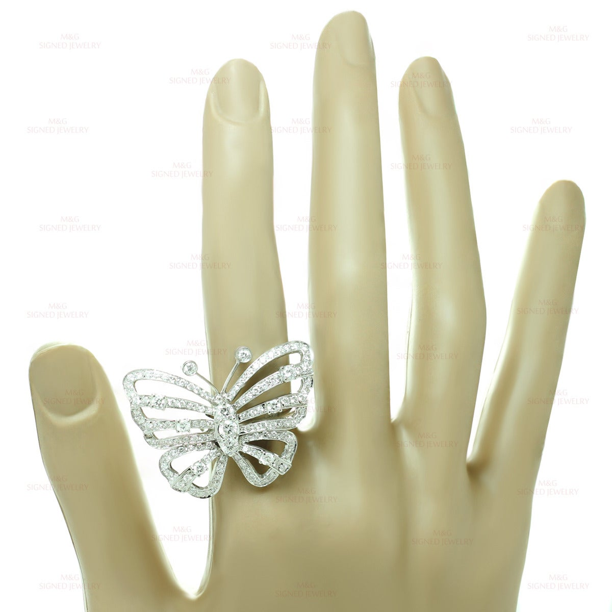 white gold butterfly ring at 1stdibs