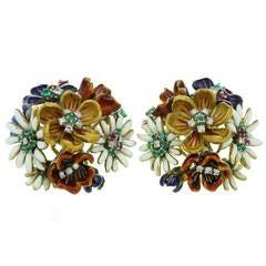 1980s Enamel Gemstone Diamond Gold Flower Cluster Earrings