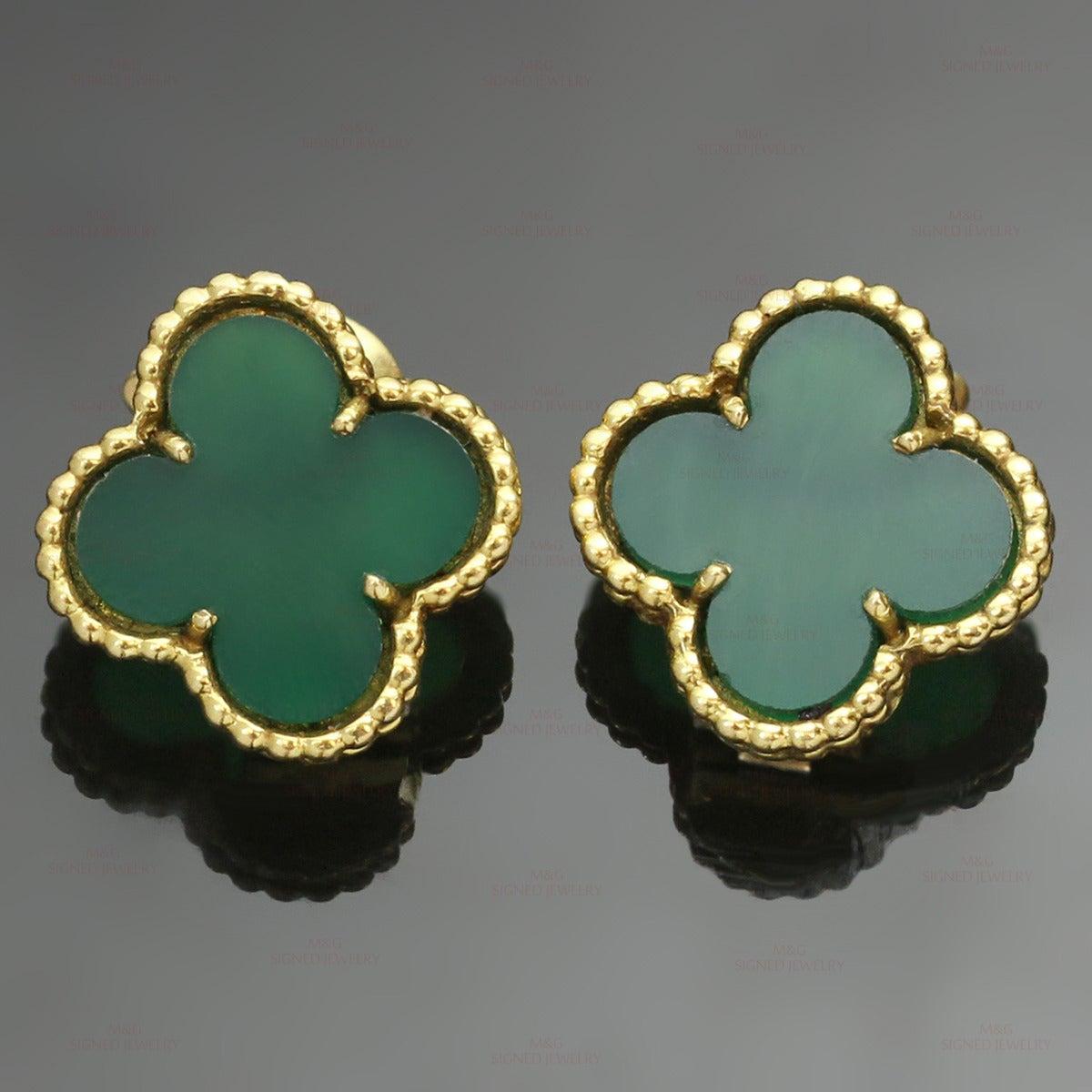 1970s Van Cleef & Arpels Alhambra Green Chalcedony Gold Earrings For Sale 2