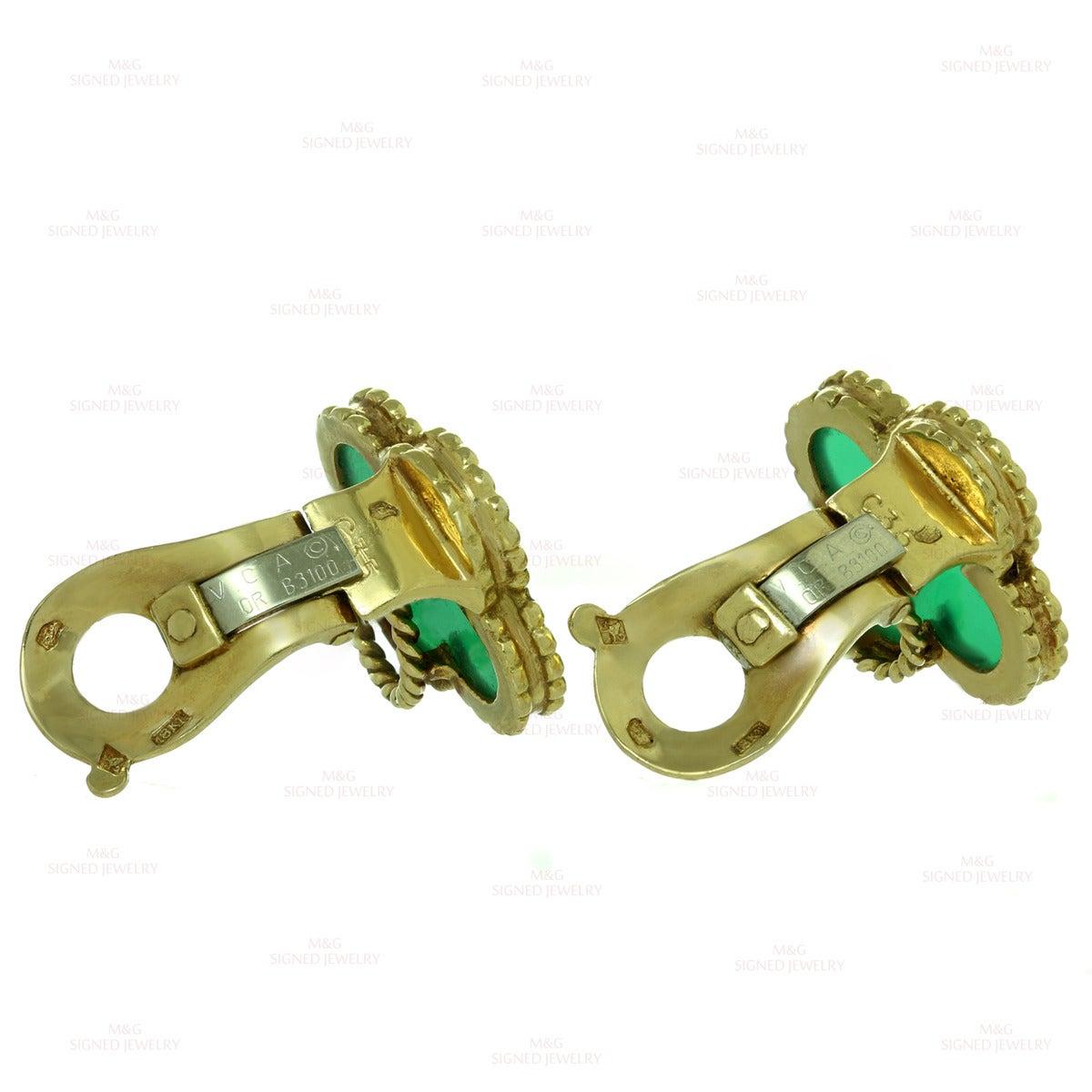 Women's 1970s Van Cleef & Arpels Alhambra Green Chalcedony Gold Earrings For Sale