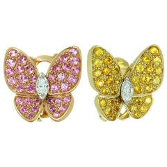 Van Cleef & Arpels Pink and Yellow Sapphire Diamond Gold Butterfly Earrings