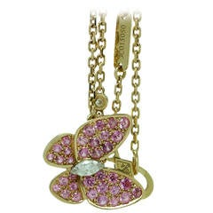 Van Cleef & Arpels Pink Sapphire Diamond Gold Butterfly Necklace