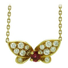 1990s Van Cleef & Arpels Ruby Diamond Gold Butterfly Necklace
