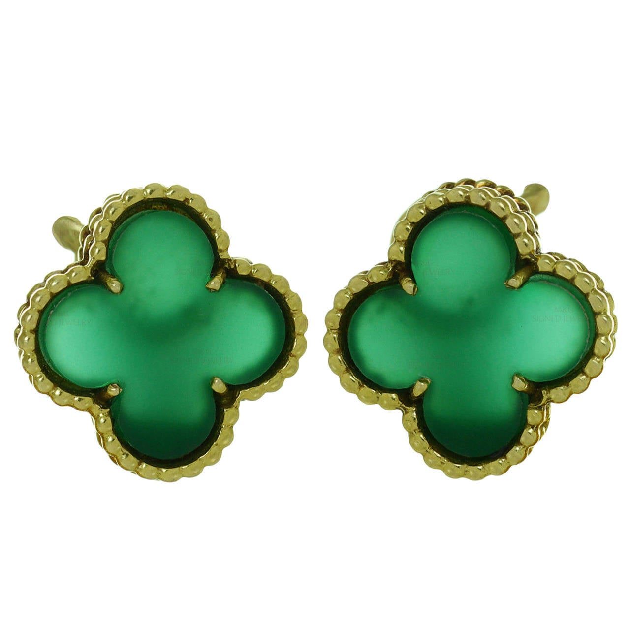 1970s Van Cleef & Arpels Alhambra Green Chalcedony Gold Earrings For Sale