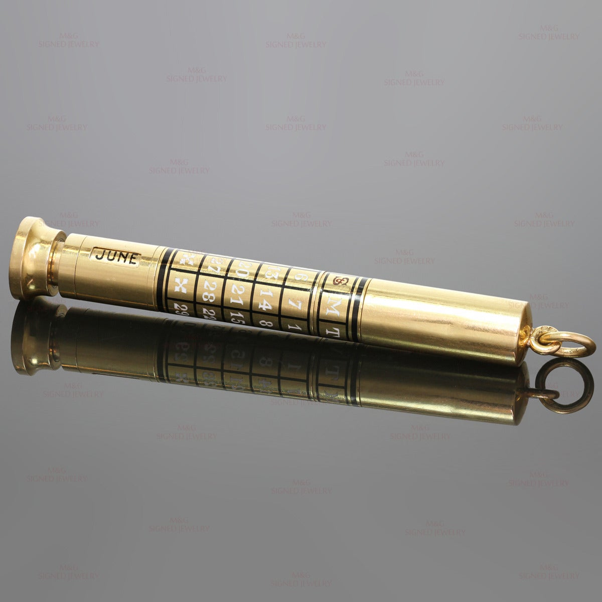 Women's or Men's 1940s Cartier Rare Enamel Gold Perpetual Calendar Pen For Sale
