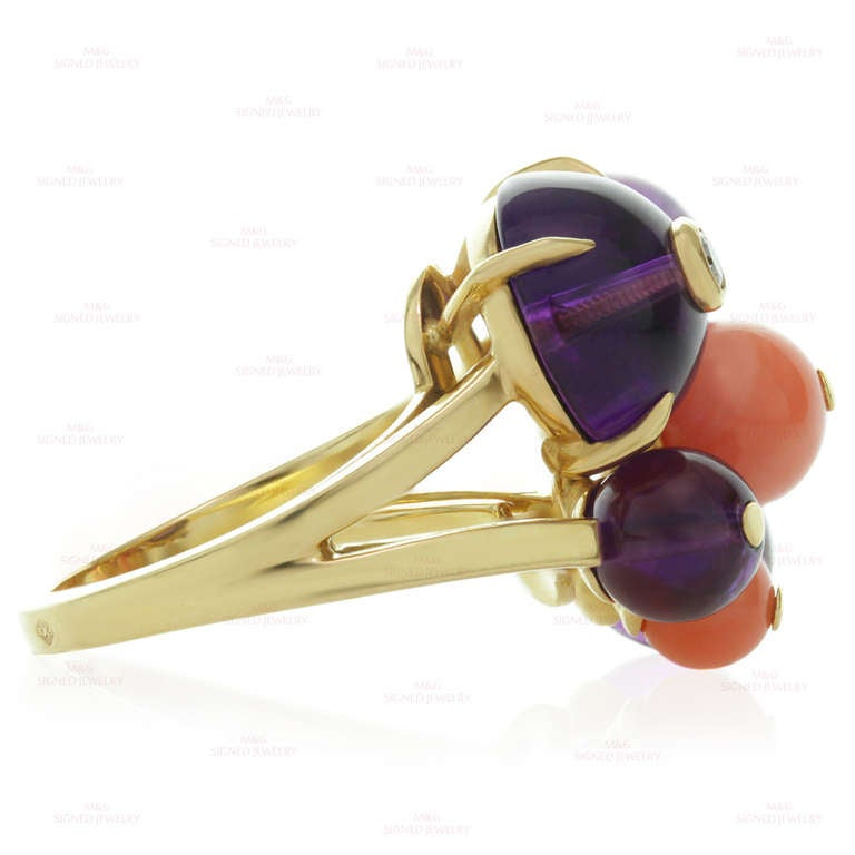 Women's Cartier Les Delices De Goa Diamond Amethyst Coral Bead Yellow Gold Ring For Sale