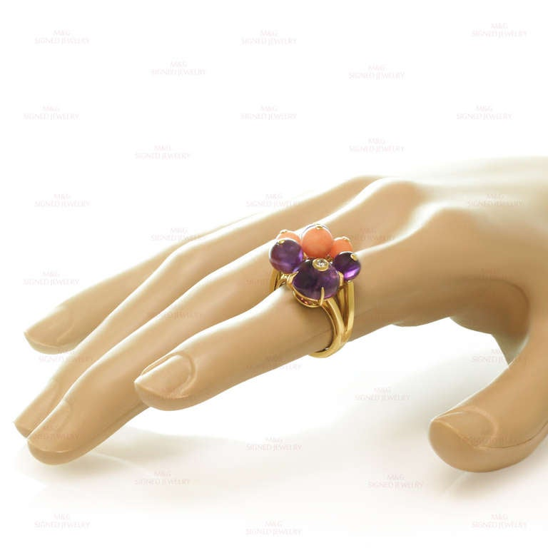 Cartier Les Delices De Goa Diamond Amethyst Coral Bead Yellow Gold Ring For Sale 1
