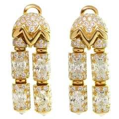 BVLGARI 1980s Oval Diamond Yellow Gold Drop Earrings