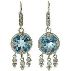 Blue Quartz Gold Drop Earrings