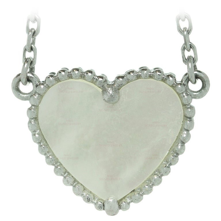 Van Cleef & Arpels Lucky Alhambra Mother of Pearl Gold Heart Necklace For Sale