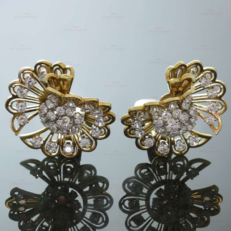 Brilliant Cut Van Cleef & Arpels Rare 1940s Gold Diamond Clip-On Earrings Brooches