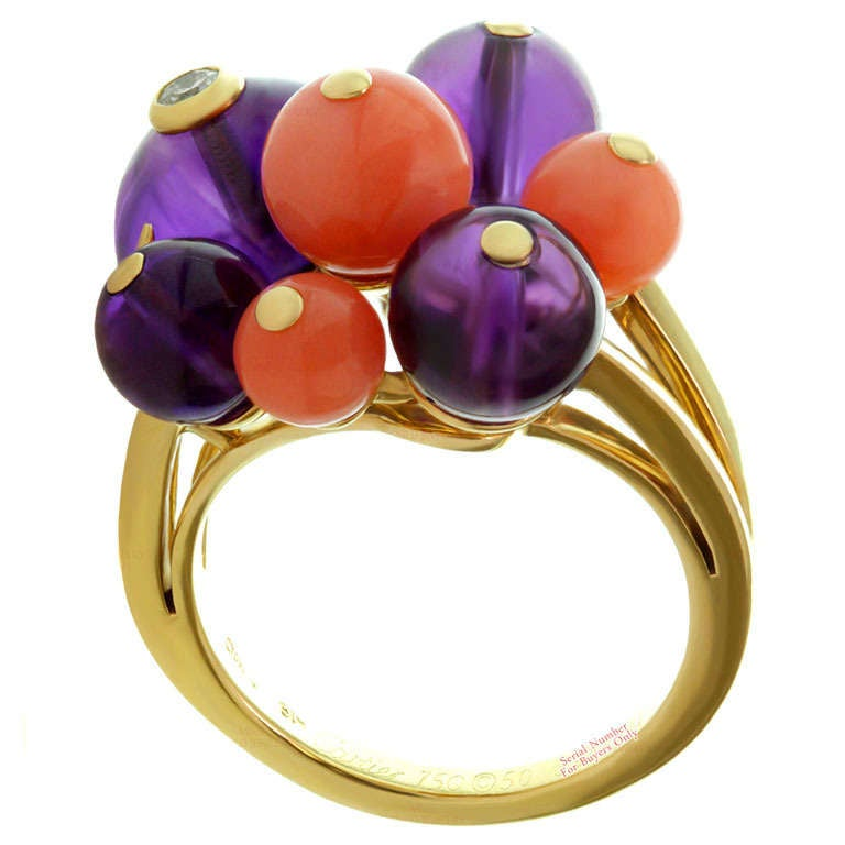 Cartier Les Delices De Goa Diamond Amethyst Coral Bead Yellow Gold Ring For Sale
