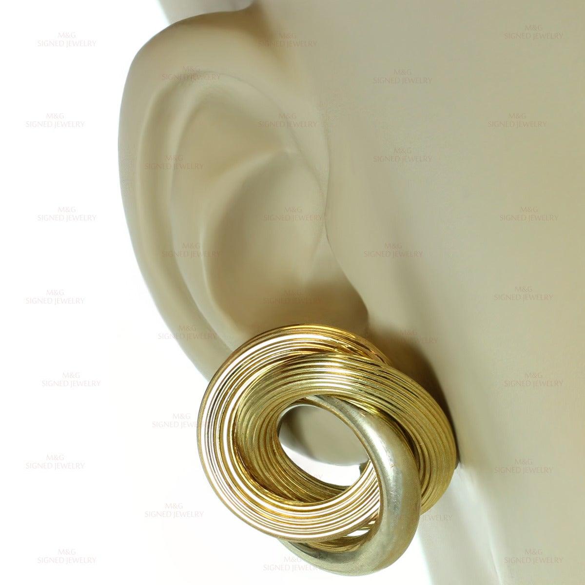 4d969c3559913 1950s Bulgari Tri-Gold Large Clip-on Love-Knot Earrings