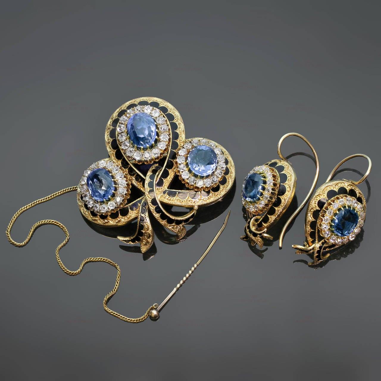 Victorian Enamel Sapphire Diamond Gold Jewelry Suite 2